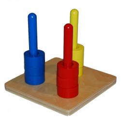 Disques de couleur sur 3 tiges verticales Montessori