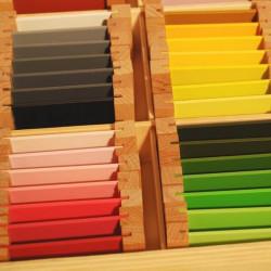 3ème boite de couleurs plaquettes bois Montessori