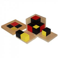 Cube du binôme algébrique (cubes en hêtre) Montessori