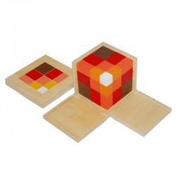 Cube du trinôme arithmétique (cubes en hêtre) Montessori