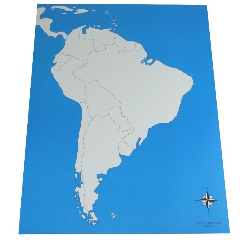 Carte de l'Amérique du Sud vierge Montessori