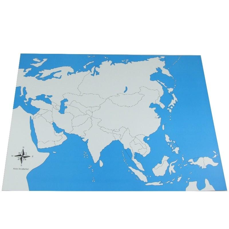 Carte de l'Asie vierge Montessori