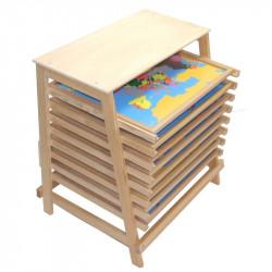 Cabinet de géographie avec 8 puzzles premium