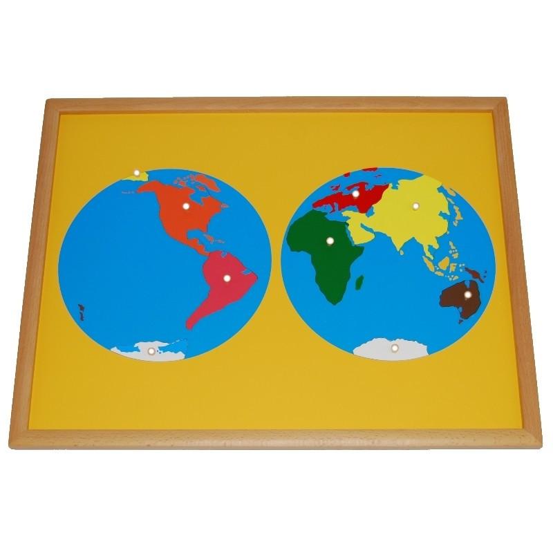 Puzzle des continents premium Montessori