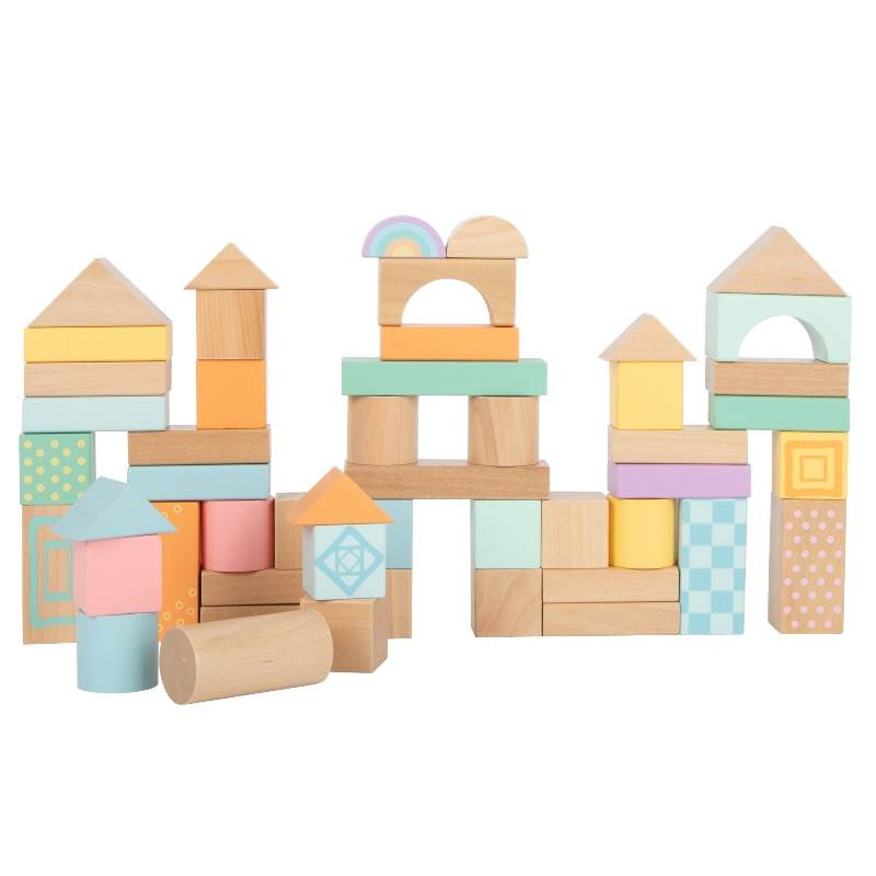 Blocs de construction en bois Pastel