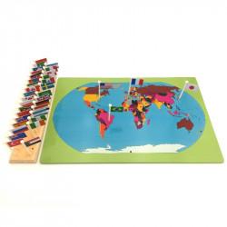 Puzzle carte du monde avec drapeaux