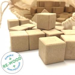 150 cubes 2x2x2 en RE-WOOD® couleur naturelle