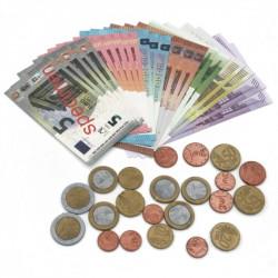 Assortiment de 22 pièces et 22 billets en euros