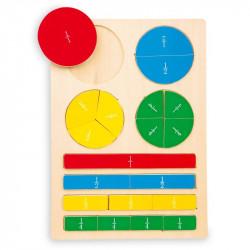 Puzzle fractions en bois