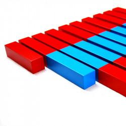 Barres rouges et bleues en hêtre (premium) montessori