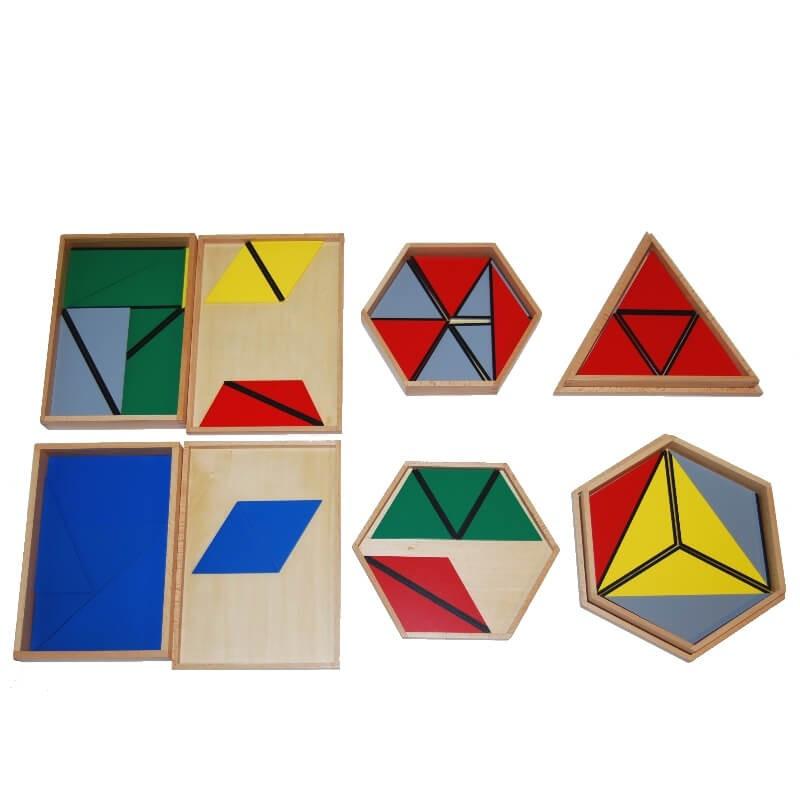 Triangles constructeurs (5 boites) Montessori