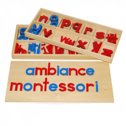 Grand alphabet mobile script en bois Montessori