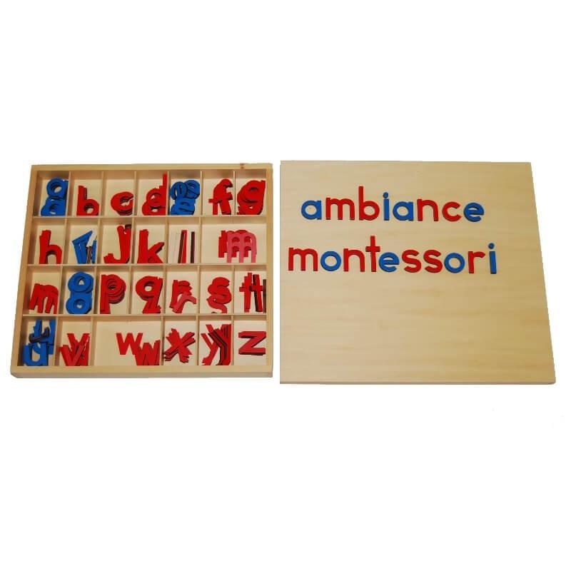 Petit alphabet mobile script en bois Montessori