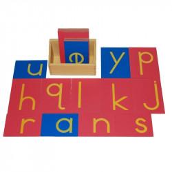 Lettres rugueuses script avec boite Montessori