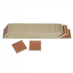 45 carrés de 100 en bois Montessori