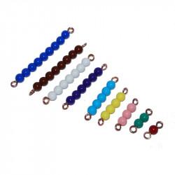 Barrettes de perles colorées de 1 à 9 Montessori