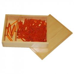 Chaînes de 100 et de 1000 perles dorées avec leur boite Montessori
