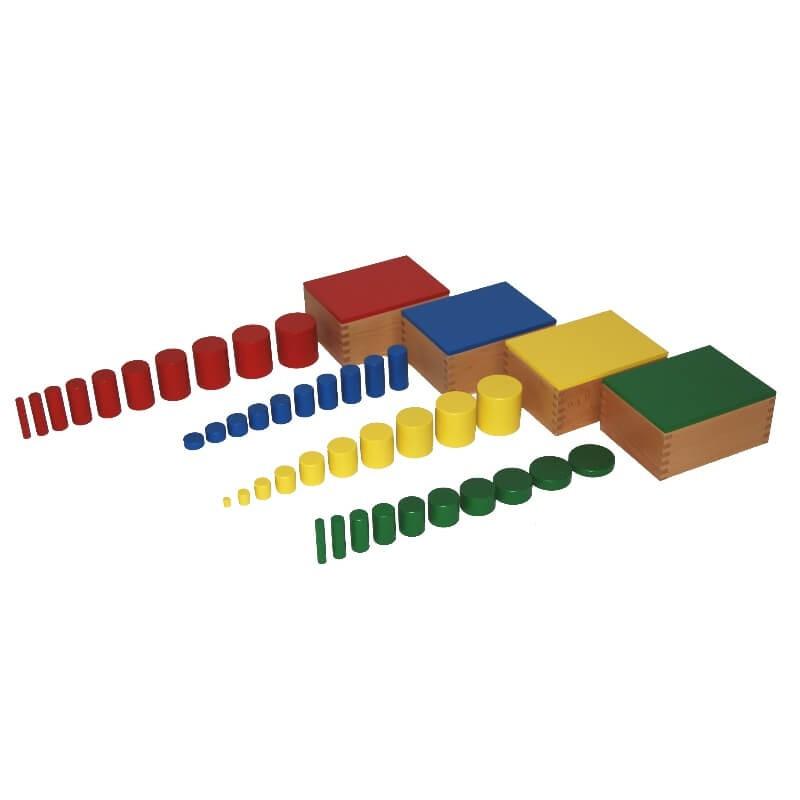 Cylindres de couleurs en hêtre (premium) Montessori